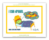 button to view full sized mini-poster - image of a boy dreaming of flying in space ship.  i can dream. what can you dream?